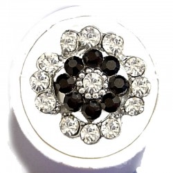 Bold Statement Costume Jewellery Large Big Rings, Fashion Women Girls Gift, Black & Clear Diamante Lucky Flower Ring