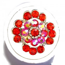 Bold Statement Costume Jewellery Large Big Rings, Fashion Women Girls Gift, Red Diamante Lucky Flower Ring