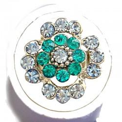 Bold Statement Costume Jewellery Large Big Rings, Fashion Women Girls Gift, Blue Diamante Lucky Flower Ring