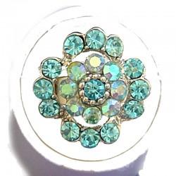 Bold Statement Costume Jewellery Large Big Rings, Fashion Women Girls Gift, Light Blue Diamante Lucky Flower Ring