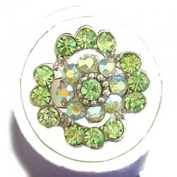 Bold Statement Costume Jewellery Large Big Rings, Fashion Women Girls Gift, Green Diamante Lucky Flower Ring