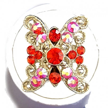 Bold Costume Jewellery Large Big Rings, Women Girls Gift, Red Diamante Cross Cool Fashion Statement Ring