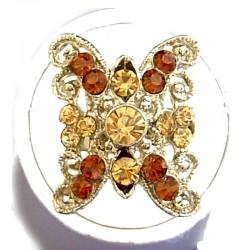 Bold Costume Jewellery Large Big Rings, Women Girls Gift, Brown Diamante Cross Cool Fashion Statement Ring