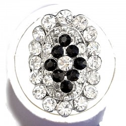 Black & Clear Diamante Victorian Oval Statement Ring