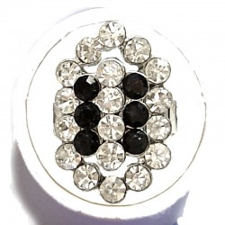 Bold Dressy Costume Jewellery Large Big Rings, Fashion Women Girls Gift, Black & Clear Diamante Oval Statement Ring