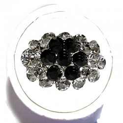 Dressy Costume Jewellery Rings, Fashion Women Girls Gift, Black & Grey Diamante Shiny Flower Cluster Dress Ring
