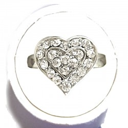 Classic Costume Jewellery Small Rings, Fashion Yound Women Girls Dainty Gift, Cute Clear Diamante Sweet Heart Ring