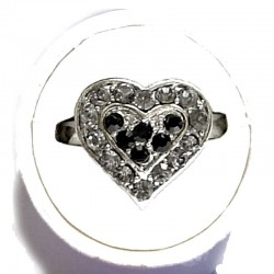 Classic Costume Jewellery Small Rings, Fashion Yound Women Girls Dainty Gift, Cute Black Diamante Sweet Heart Ring