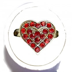 Cute Burgundy & Red Diamante Sweet Heart Ring
