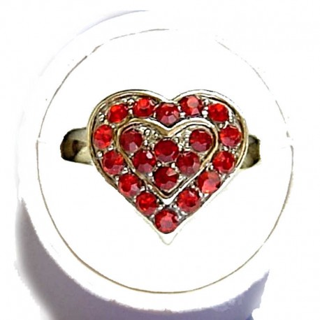 Classic Costume Jewellery Small Rings, Fashion Yound Women Girls Dainty Gift, Cute Burgundy & Red Diamante Sweet Heart Ring