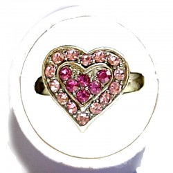 Classic Costume Jewellery Small Rings, Fashion Yound Women Girls Dainty Gift, Cute Hot Pink & Pink Diamante Sweet Heart Ring