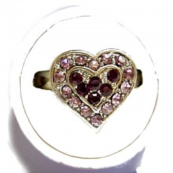 Classic Costume Jewellery Small Rings, Fashion Yound Women Girls Dainty Gift, Cute Purple & Lilac Diamante Sweet Heart Ring