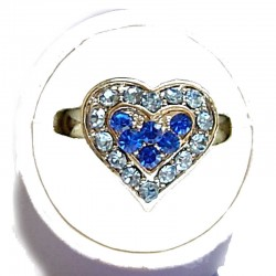 Classic Costume Jewellery Small Rings, Fashion Yound Women Girls Dainty Gift, Cute Royal Blue & Blue Diamante Sweet Heart Ring