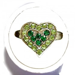 Classic Costume Jewellery Small Rings, Fashion Yound Women Girls Dainty Gift, Cute Green & Lime Diamante Sweet Heart Ring