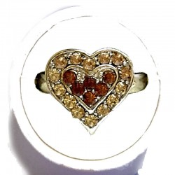 Brown & Gold Diamante Sweet Heart Ring