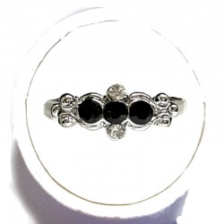 Simple Costume Jewellery Rings, Fashion Women Girls Dainty Gift, Black Diamante Trilogy Ring