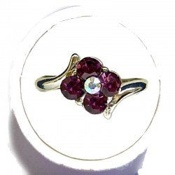 Simple Costume Jewellery Rings, Fashion Women Girls Dainty Gift, Purple Diamante Lucky Flower Ring