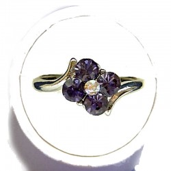 Simple Costume Jewellery Rings, Fashion Women Girls Dainty Gift, Violet Diamante Lucky Flower Ring