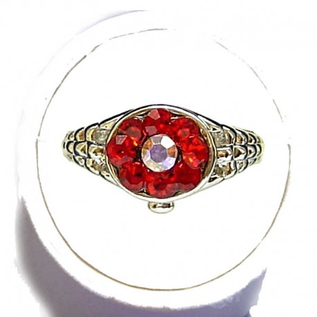 Simple Costume Jewellery Rings,Trendy Young Women Girls Dainty Gift, Red Diamante Fashion Cluster Ring