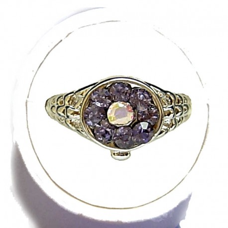 Simple Costume Jewellery Rings,Trendy Young Women Girls Dainty Gift, Violet Diamante Fashion Cluster Ring