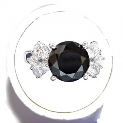 Classic Costume Jewellery, Fake Diamond Rings, Women Gifts, Black Round & Clear Cubic Zirconia CZ Solitaire Ring