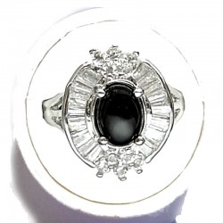 Natural Stone Costume Jewellery, Women Gift, Oval Black Agate Clear Diamante Cluster Dress Ring