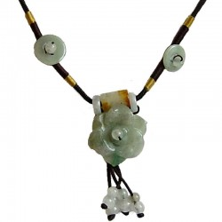 Green Jade Flower Adjustable Brown Rope Necklace