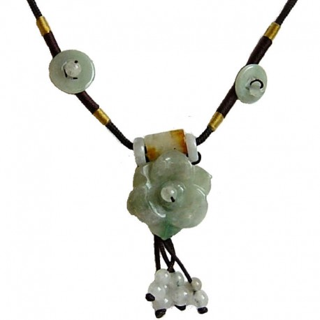 Natural Stone Costume Jewellery Accessories, Fashion Women Girls Gift, Green Jade Flower Adjustable Brown Rope Necklace