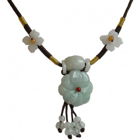 Natural Stone Costume Jewellery Accessories, Fashion Women Girls Gift, Green Jade Floral Adjustable Brown Rope Necklace