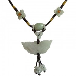 Green Jade Butterfly Flower Adjustable Brown Rope Necklace