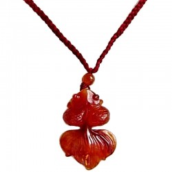 Red Goldfish Jade Red Rope Necklace