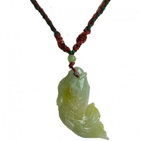 Natural Stone Costume Jewellery Accessories, Fashion Unisex Men Women Girls Gift, Green Koi Fish Jade Rope Necklace