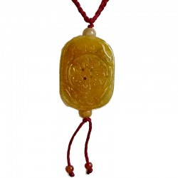 Yellow Round Rectangle Jade Red Rope Necklace