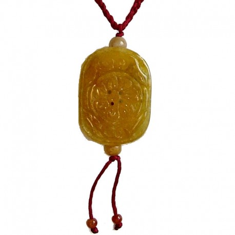 Natural Stone Costume Jewellery Accessories, Fashion Unisex Men Women Girls Gift, Yellow Round Rectangle Jade Red Rope Necklace