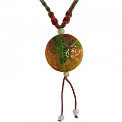Fortune Circle Jade Red Rope Necklace