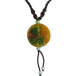Fortune Circle Jade Brown Rope Necklace
