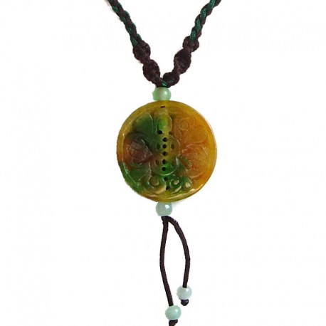 Natural Stone Costume Jewellery Accessories, Fashion Unisex Men Women Girls Gift, Fortune Circle Jade Brown Rope Necklace