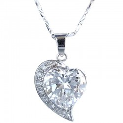 Fashion Love Women's Girls Gift, Chic Costume Jewellery, Clear Cubic Zirconia CZ Heart Necklce Pendant