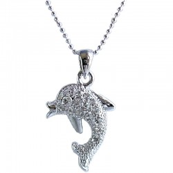 Costume Jewellery Necklaces, Fashion Young Women Accessories Girls Small Gift, Clear Diamante Dolphin Pendant Necklace