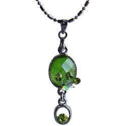 Costume Jewellery Necklaces, Fashion Young Women Accessories Girls Small Gift, Green Diamante Oval Drop Pendant Necklace
