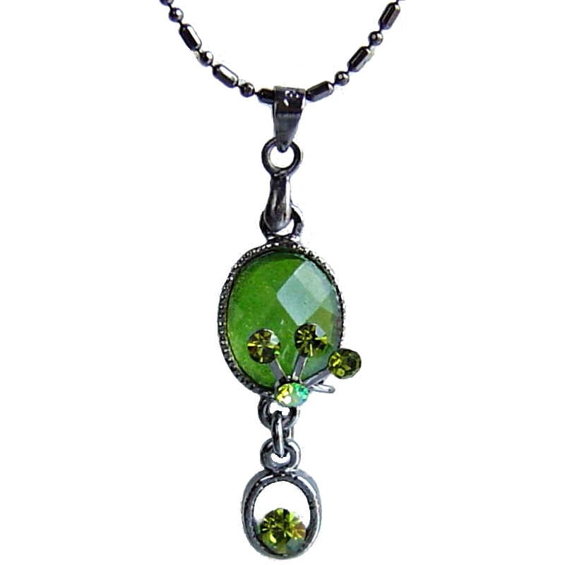 Green diamante oval drop pendantfashion necklace ukcostume jewellery costume jewellery necklaces fashion young women accessories girls small gift green diamante oval drop loading zoom aloadofball Images