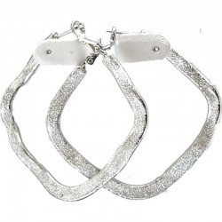 Glitter Silver Wave Rhombus 48mm Hoop Earrings
