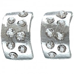 Clear Diamante Silver Semi Hoop Earrings