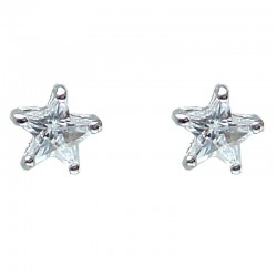 Simple Costume Jewellery, Small Earring Studs, Clear Diamante Star Fashion Stud Earrings