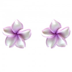 andcrafted Costume Jewellery Earring Studs, Handmade Fashion Women Girls Accessories,White Purple Clay Flower Stud Earrings