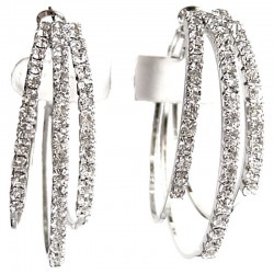 Fashion Costume Jewellery Accessoriesm, Women Girls Dainty Small Gift, Clear Diamante Medium 40mm Triple Hoop Earrings