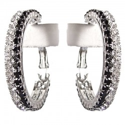 Black & Clear Diamante Medium 35mm Hoop Earrings