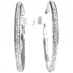 Clear Diamante Silver Edge Large 60mm Hoop Earrings