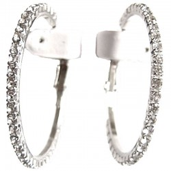 Fashion Costume Jewellery Accessories, Women Girls Dainty Small Gift, Clear Diamante Medium 45mm Hoop Earrings