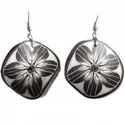 Handcrafted Costume Jewellery, Handmade Fashion Women Girls Accessories, Black Ceramic Wave Clay Circle Drop Earrings
